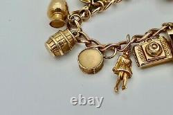 SUPERB VINTAGE HM 9ct GOLD CHARM BRACELET 30.9 grams
