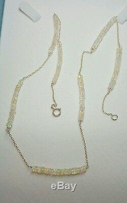 Solid 14k Gold 9ct Ethiopian Fire Opal by the yard necklace bracelet 18 inch