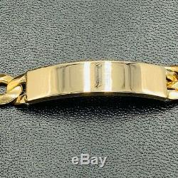 Solid 375 9ct Yellow Gold Flat Curb Link ID Bracelet 8 30.8g L29