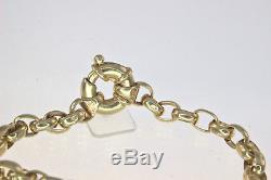 Solid 9ct Gold 18cm Oval Belcher Euro Bolt Ring Clasp Bracelet 10.69gm #62797