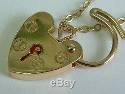 Solid 9ct Gold 1970's Open Double Linked Charm Bracelet/padlock With Five Charms