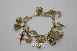Solid 9ct Gold Bracelet with Gold Charms 38.4 Grams