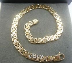 Solid 9ct Gold Flat Byzantine Link Bracelet 8 1/2 13.5 grams