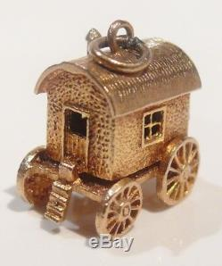 Solid 9ct Gold Vintage Gypsy Caravan/wagon Fortune Teller English Bracelet Charm