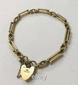 Solid 9ct Gold Vintage rope & bar link Bracelet with padlock clasp 8 inch 15.3g