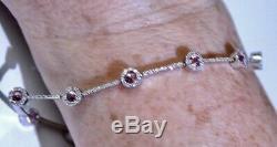 Solid 9ct White Gold Diamond Pink Sapphire Bracelet Tennis Bracelet