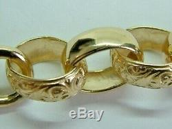 Solid 9ct Yellow Gold Chunky Patterned Belcher Linked Bracelet 10.25 Inches