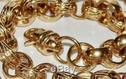 Solid 9ct Yellow Gold On Silver 9 Inch Heavy Men's Belcher Bracelet