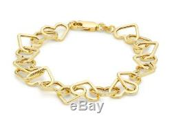 Solid 9ct Yellow Gold Open Love Heart Belcher Chain Bracelet 19cm/7.5 Gift Box