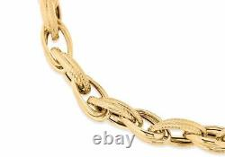 Solid 9ct Yellow Gold Textured Double Link Chain Bracelet 23cm/9 Womens Gift
