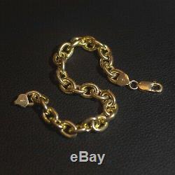 Solid 9ct Yellow Gold on Silver Italian Heavy Belcher Rolo Bracelet 9 Men's
