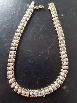 Solid 9ct yellow gold Diamond tennis bracelet 8 grams (1 day only reduced price)