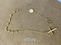 Solid Genuine 9ct Yellow Gold 2mm Rosary Beads St Christopher Bracelet 7.5'' New