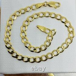 Solid Genuine 9ct Yellow Gold Mens 4.5mm Curb Link Bracelet 8.5 BRAND NEW