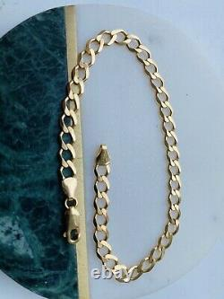 Solid Genuine 9ct Yellow Gold Mens 5.5mm Open Curb Link Bracelet 8.5inch NEW