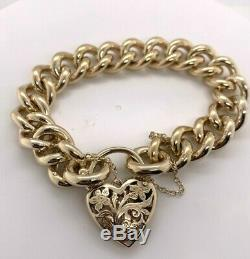 Solid Gold Bracelet 9ct Yellow Gold Curb with Padlock 19.5cm Preloved RRP $7900