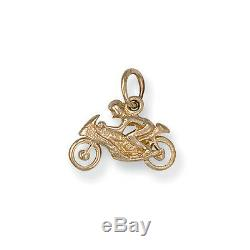 Solid Hallmarked 9ct Yellow Gold Motorbike Bike Rider Bracelet Charm Pendant