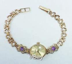 Sovereign 9ct Gold & Amethyst Ladies Bracelet Watch, 6.4, 9.5g