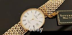 Sovereign 9ct Gold Hallmarked Gents Bracelet Watch in Sovereign Box with Papers