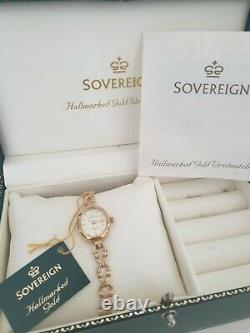 Sovereign 9ct Gold Hallmarked Ladies Bracelet Watch in Sovereign Box and Booklet