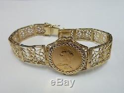 Stunning 9ct Gold 7 Fancy 1889 Full Sovereign Coin Bracelet