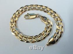 Stunning 9ct Gold 8 Ridged Curb Bracelet