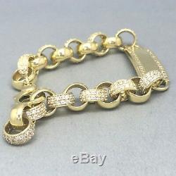 Stunning 9ct Gold Cubic Zircon Stone Set Baby's I. D. Belcher Bracelet 1783