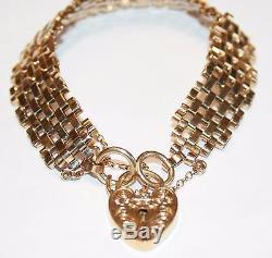Stunning 9ct Gold Gate Link Bracelet With Engraved Padlock 17.8 Grams