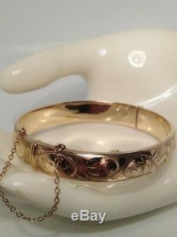 Stunning 9ct Gold Hinged Bangle/bracelet