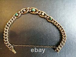 Stunning Antique Victorian 9ct Gold Turquoise & Pearl Curb Bracelet jewellery