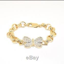 Stunning Children's Baby 9ct Gold Girl's Stone Set Butterfly Belcher Bracelet