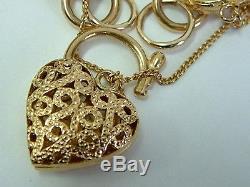 Stunning Designer Look 9ct Yellow Gold Chunky Bracelet With Fancy Padlock