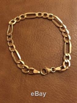 Stunning Ladies 9Ct Gold Figaro Bracelet