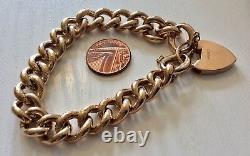Stunning Ladies Chunky Antique Heavy 9 Carat Gold Patterned Bracelet & Padlock