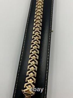 Stylish Solid 9ct Yellow Gold Vintage Bracelet Itialian Design, Shells