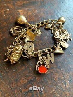 Substantial 9ct Gold Curb Link & Padlock Charm Bracelet & 17 Charms