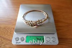 Suffragette Edwardian 9ct Gold'sweet Heart' Hooped Bracelet C1905, Box