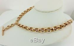 Superb 9ct Rose Gold Belcher Link Double Albert Watch Chain. Bracelet / Necklace