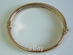 Superb Quality 9ct Yellow White Rose Tri Colour Gold Ladies Wide Bangle