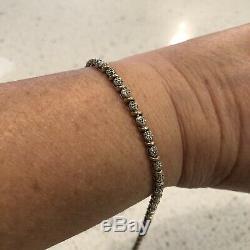 Tested As 9ct Two Tone Gold Diamond Tennis Bracelet