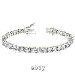 Top Quality F/SI 5.00ct Round Diamond Claw Set Tennis Bracelet, White Gold