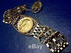 Traditional 9ct Gold Full Sovereign Gate Link Bracelet 22.6 Grams