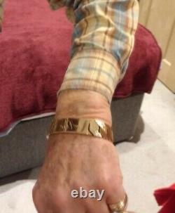 Unique Handmade Solid 9ct Gold Mens Identity Bracelet Heavy 144g Elegant Design