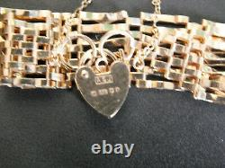 Unusual Vintage Solid 9ct Yellow Gold Gate Bracelet with Heart Lock