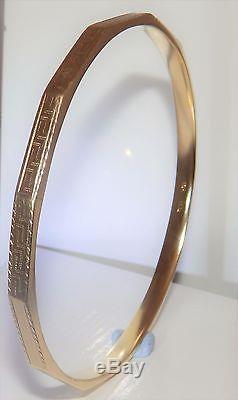VINTAGE 9CT YELLOW GOLD GREEK KEY DESIGN SLAVE BANGLE BRACELET 15.7g
