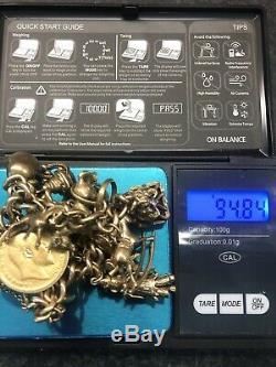 VINTAGE 9 Ct GOLD CHARM BRACELET Weight 94.81 g