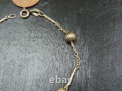 VINTAGE 9ct GOLD CABLE COBRA LINK & FLUTED BALL BRACELET C. 1990