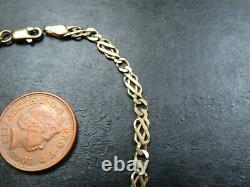 VINTAGE 9ct GOLD CELTIC SCROLL LINK BRACELET C. 1990