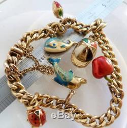 VINTAGE 9ct GOLD CHARM BRACELET ITALY ENAMEL & GOLD CHARMS SCRAP GOLD OR WEAR