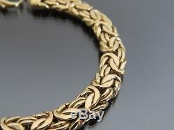 VINTAGE 9ct GOLD FLAT BYZANTINE LINK BRACELET C. 1990
